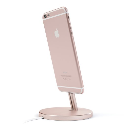 Подставка док-станция Satechi Aluminum Desktop Charging Stand для iPhone с Lightning разъемом. Материал алюминий. Цвет розовое золото. Satechi Aluminum Desktop Charging Stand for iPhone